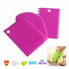 3 шт. инструменты для выпечки кондитерских изделий пластиковый нож для теста глазурь скребок для мастики украшения простые гладкие зубчатые края шпатели ножи для тортов инструмент
