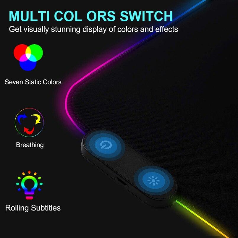 RGB коврик для мыши, игровой коврик для мыши, большой компьютерный коврик для мыши с подсветкой XXL, коврики для мыши со светодиодный подсветкой, коврик для геймеров 900x400, Настольный коврик для CS-4