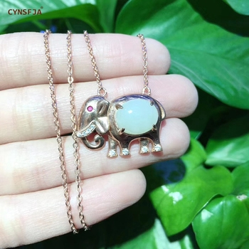 CYNSFJA Real Certified Natural Hetian Jade 925 Sterling Silver Handmade Lucky Elephant White Jade Pendant High Quality Best Gift