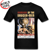 invasion of the saucer men ufo Alien T Shirt Vintage Old film poster Graphic Custom Tshirts For Men Fashion Print New Top