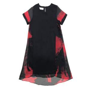 Image 5 - L 5XL Office Lady Party Loose o neck short Sleeve Plus Size Summer Yellow Red Black Elegant Woman Cocktail Dresses