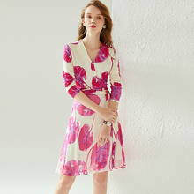 100% Silk Dress Printed Cross V Neck Long Sleeves Elastic Upper Body Special Stitching Design Dresses Elegant New Fashion Style