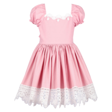 Flofallzique Baby Girl Dress Cotton Puff Sleeve Square Collar Lace Baby Girl Dress For For Party Wedding Festival Celebration