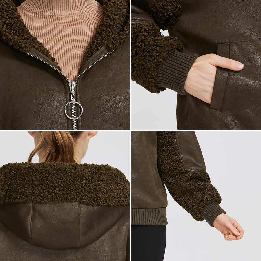 Miegofce 2019 Baru Musim Dingin Wanita Koleksi Bulu Imitasi Jaket Kulit Domba Lambang Gaya Yang Tidak Biasa Warna Panjang Tahan Angin hood