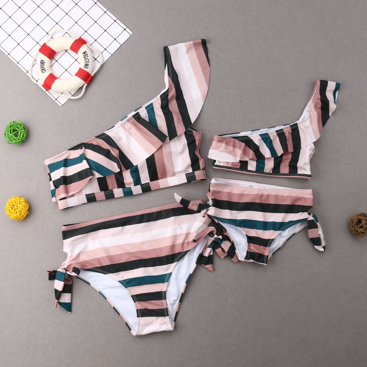 Striped Off Shoulder Mother Daughter Swimsuit Mommy And Me Swimwear Family Matching Outfits Clothes Look Mom And Baby Bikini