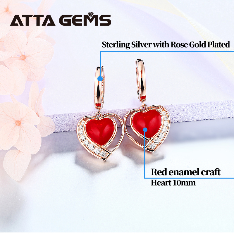 Women's Hearts Earring Sterling Silver Rose Gold Plated Red Enamel Craft Romantic Style for Women's Gifts Mother Girlfriend