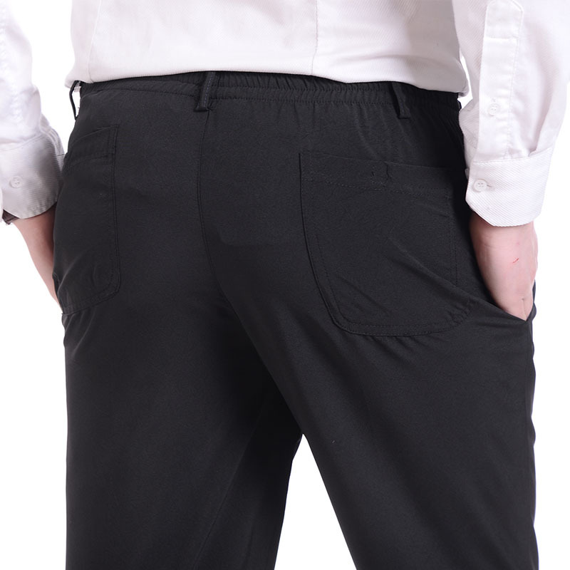 Men's Summer Thin Ice Silk Casual Pants High Waist Pants Men Formal Trousers Elastic Waist Loose Straight Men's Pants Trousers