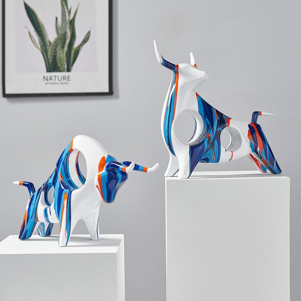 Художественная Скульптура животных, цветные граффити, украшения из смолы, Современное украшение для дома, украшение для гостиной, офиса, ак...