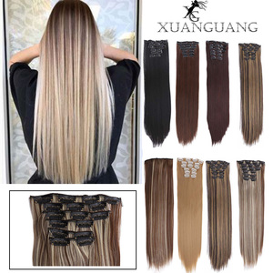 XUANGUANG Long Straight Synthetic Hair Extensions 12 colors 16 clips 22 inch 160g Clips in High Temperature Fiber Hair Piece