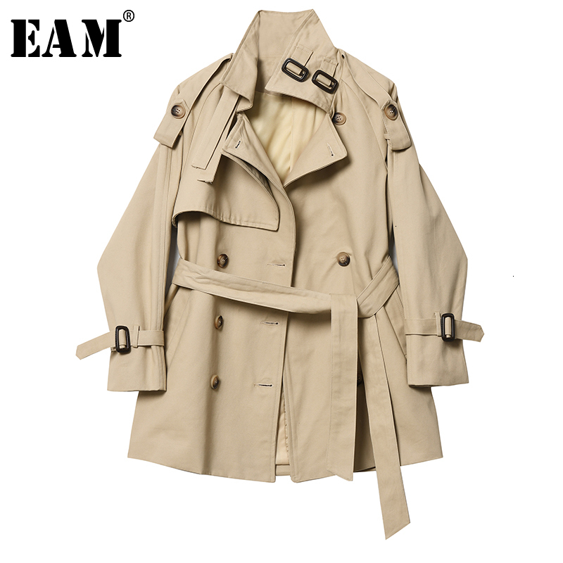 [EAM] Women Khaki Bandage Double Breasted Trench New Lapel Long Sleeve Loose Fit Windbreaker Fashion Spring Autumn 2020 1H961