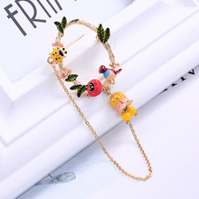kissme Enamel Pin New Bird Ladybird Leaves Flower Chain Pendant Brooches for Women Fashion Jewelry Accessories Kpop Pins