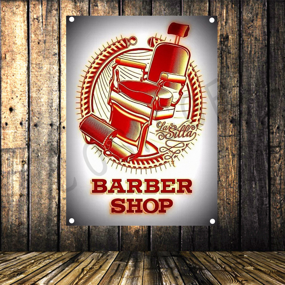 Barber Tattoo Vintage Poster Cloth Painting Shabby Chic Flag Banner Wall Sticker Hair Salon Beauty Salon Background Decor Flags Banners Accessories Aliexpress