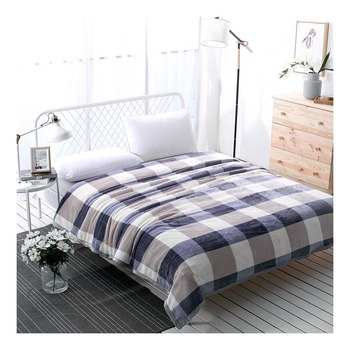 Home Textile Striped Throws Sofa/Bedding Coral Flannel Blanket Winter Warm Soft Bedsheet 120/150/230*200cm image