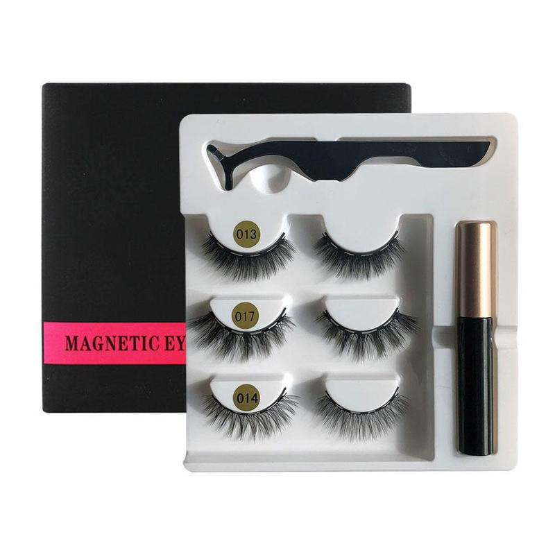 3 Pairs <font><b>Magnetic</b></font> <font><b>Eyelashes</b></font> <font><b>Magnetic</b></font> <font><b>Eyeliner</b></font> Tweezers <font><b>Set</b></font> Waterproof Long Lasting Natural <font><b>Eyelashes</b></font> <font><b>Set</b></font> Gift Box Eye Makeup image