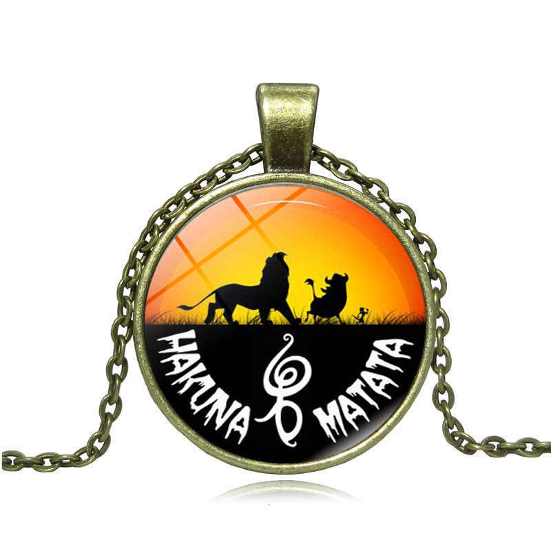 Châu Phi Biểu Tượng Sư Tử Kính Cabochon Mặt Dây Chuyền Đẹp, Mặt Dây Chuyền Nam Hakuna Matata Trang Sức Handmade DIY Đen Dây Chuyền Vòng Cổ Nữ