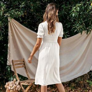 Image 4 - Simplee נשים פרע boho שמלה מקרית גבוהה מותן פנס כותנה המפלגה שמלת אונליין מוצק רך ליידי אלסטי אביב קיץ שמלה