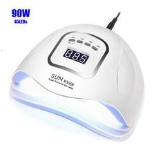 Sunx5 max 90/72w conduziu a lâmpada do prego secador 45/36 leds uv lâmpada de gelo para secagem gel polonês 10/30/60/99s temporizador ferramentas de manicure sensor automático
