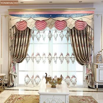 Custom curtains high-grade jacquard European living room chenille yellow brown cloth blackout curtain valance tulle panel C053