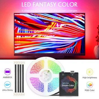 Ambilight TV PC Screen LED Backlight Led Strip Light 5050 RGB USB Led Strip 1M/2M/3M/4M/5M Dream Screen Color Changing Light