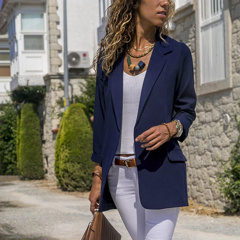 Newly 2019 Women Autumn Simple Long Sleeve Work Office Blazers Cardigan Casual Solid Color Slim Fit Suit Commuting Female