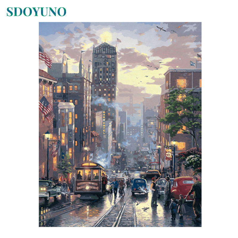 SDOYUNO Frameless Painting By Numbers On Canvas Diy City 60X75cm Room Decoration Pictures By Numbers Digital Painting