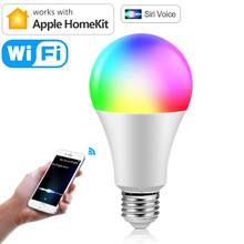 Умная ампула с Wi-Fi лампочка Siri Led E27 Apple Homekit умсветильник управление голосом полноцветная лампочка Bluetooth RGB лампа