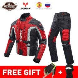 DUHAN Otoño Invierno chaqueta de Moto a prueba de frío Moto + Protector pantalones de Moto traje de Moto Touring ropa conjunto de equipo de protección