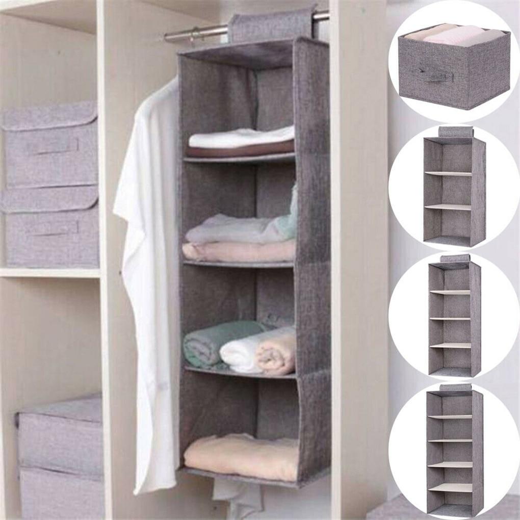Kids Hanging Wardrobe Storage Organizer Home Living Room Shelf Bedroom Clothes Bag Box Cotton Linen 3 Layer
