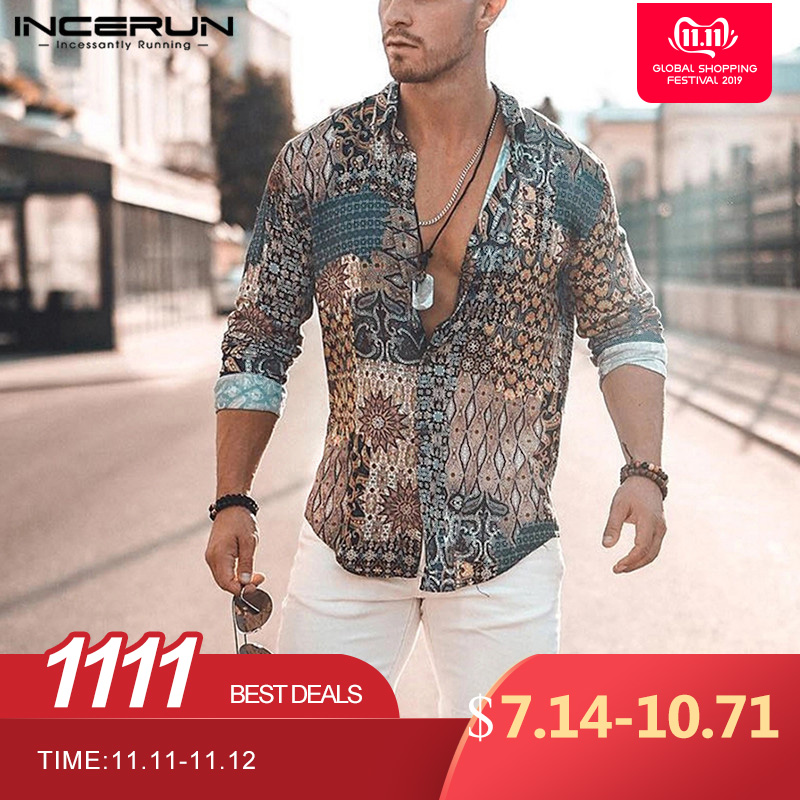 INCERUN Print Men Shirt Long Sleeve Vintage Ethnic Style High Street Beach Camisa Chic Breathable Hawaiian Men Brand Shirts 2019