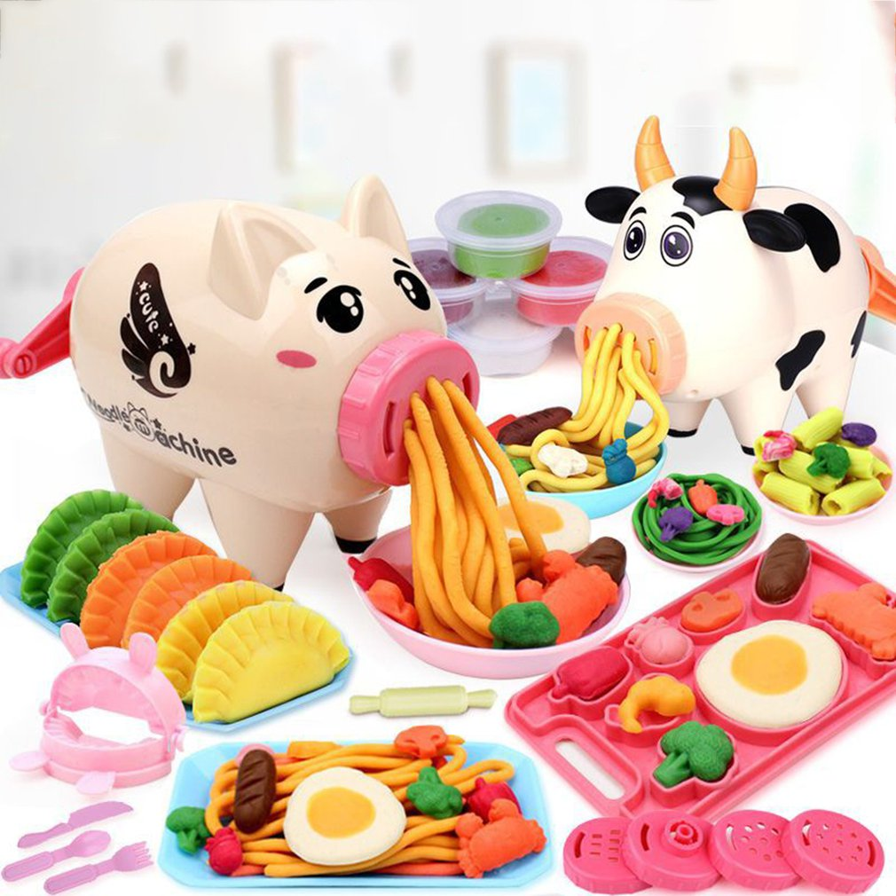 Kids Pretend Play Kitchen Toy Girls DIY Funny Pig/Cow Noodle Machine Color Clay Toy Simulation Play House Educational Toys Gift