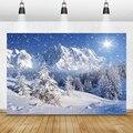 Laeacco зимние фоны голубое небо снег горы сосна дерево снег лес фотография фоны виниловый Фотофон для фотостудии