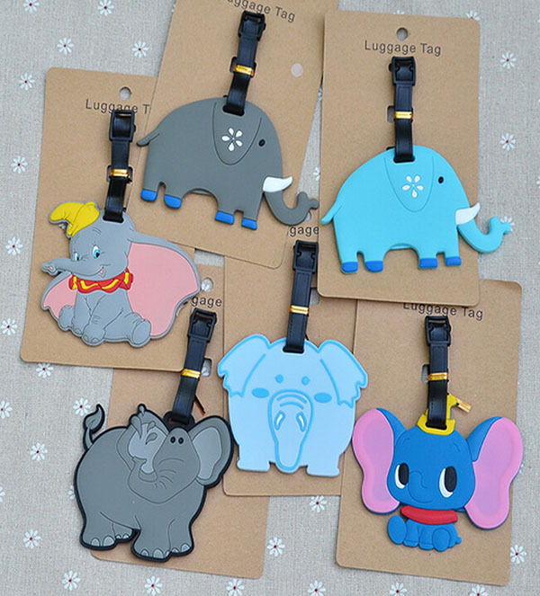 1pcs 1PCS Cute Elephant Anime Luggage Tag Travel Brand Suitcase ID Address Portable Tags Holder Baggage Labels New