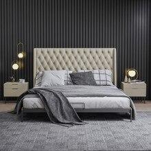 Cama de couro italiano minimalista quarto principal cama de casal hong kong designer quarto modelo importado cabeça camada cama cowhy