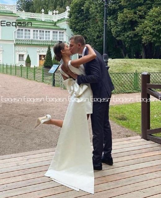 Simple Short Wedding Dresses 2021 Satin V Neck Bride Dress Big Bow on Back White Vestido De Novia Plus Size 6