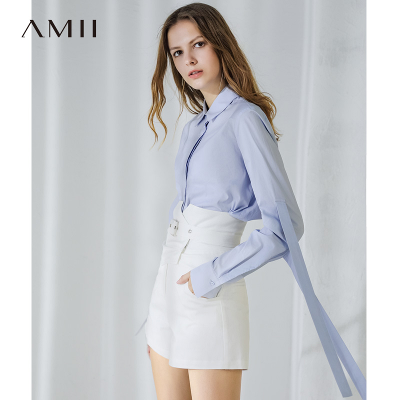 AMII Summer High Waist Solid Color Women Shorts Fashion Waist Design Lady Commute Wear 11860059