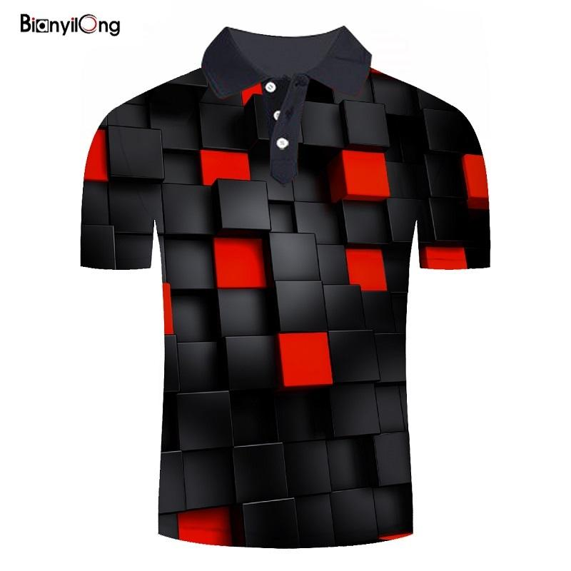 BIANYILONG 2019 Summer Hot   Polo   Shirt Men Short Sleeve   Polo   Shirt Red square 3d printed Shirts Slim Fit Cotton Men's   Polo   Shirt