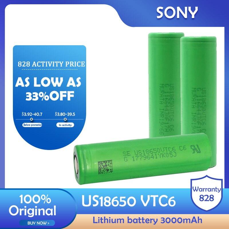Литий-ионный аккумулятор Sony VTC6, 100% оригинал, 3,7 В, 3000 мА/ч, us18650, VTC6, перезаряжаемый, для игрушечного инструмента, фотовспышки, камеры, радио