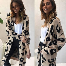 Leopard Long Cardigan Women Designer Spring Autumn Winter Women Sweater Coat Fashion Warm Long Sleeve Knitted Cardigan CDR551(China)