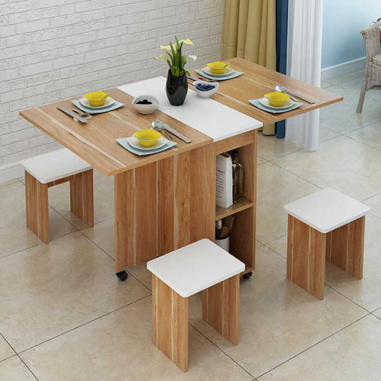 Moveable Foldable Table Chair Set Kitchen Storage Cabinet Dining Table With 4 Stools Home Furniture Stol Obedennyj Retractable R Aliexpress