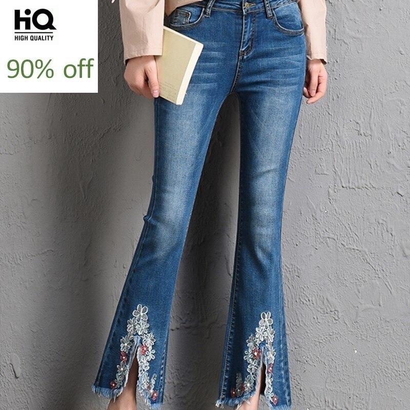 Pantalon Femme 2020 Spring New Fashion Women's Jeans Embroidery Slim Fit Jean Ankle-Length Female Pants Blue Woman Trousers