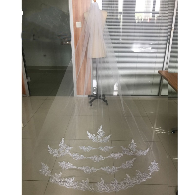 One Layer Cathedral Long Lace Edge Wedding Veil With Comb 2020 White Ivory Bride voile mariage Bridal Accessories