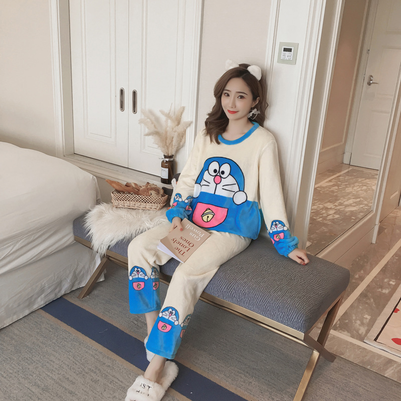 Flannel Cute Cartoon Doraemon Pajamas Female Winter Thick Loose-Fit Coral Velvet-Outer Wear Homewear Set