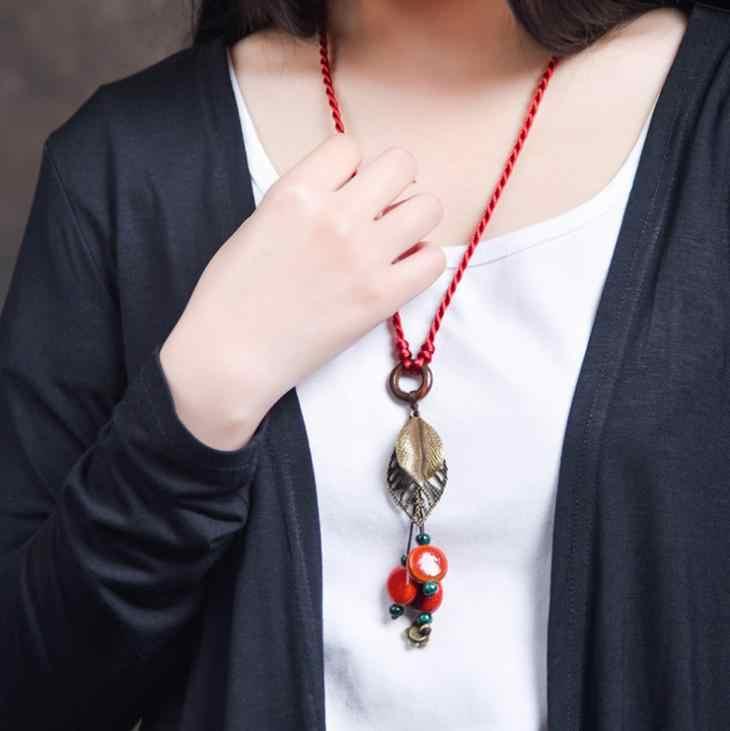 สร้อยข้อมือพลอยด์สไบบลูเบอร์รี่ BYSPT ทำด้วยมือผูกสีแดงลูกปัดหินหินยาวพู่ Retro สร้อยคอลูกปัดโซ่เสื้อกันหนาว
