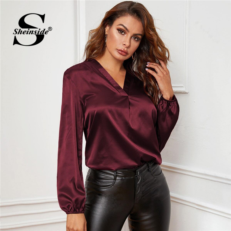 Sheinside Elegant Burgundy V Neck Satin Blouse Women 2019 Autumn Lantern Sleeve Blouses Ladies Solid Minimalist Top SHEINSIDE Women Women's Sheinside Collection