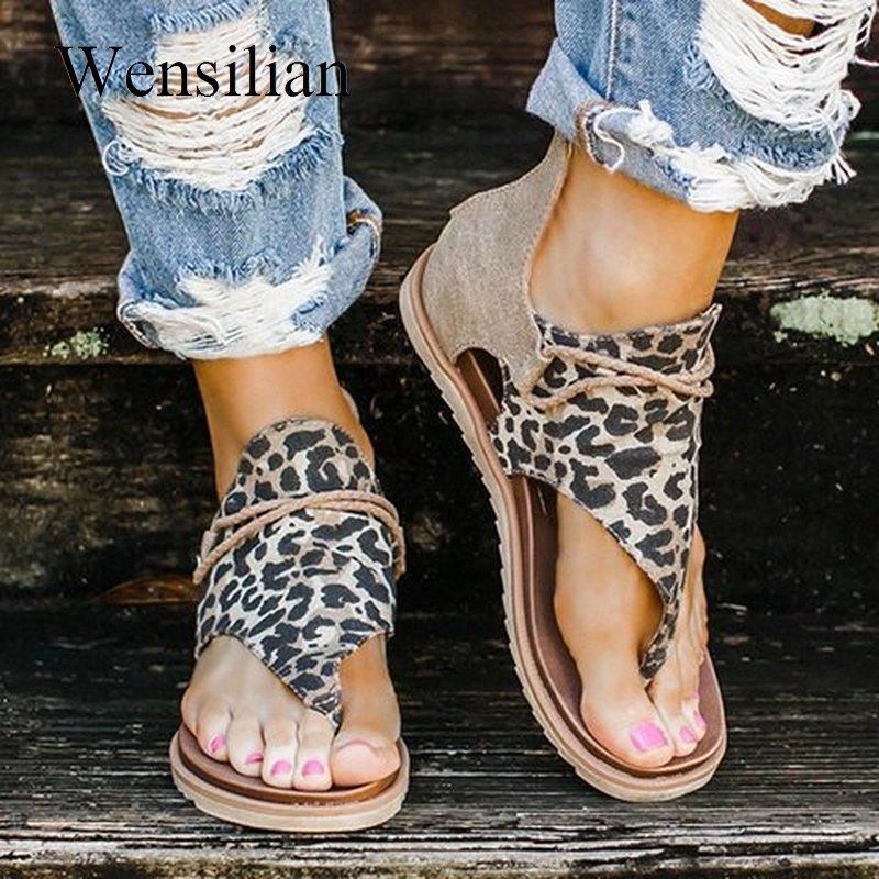 Женские летние сандалии; Леопардовая обувь на плоской подошве; Женские сандалии в богемном стиле; Sapato Feminino Zapatos De Mujer; Повседневная обувь со з...