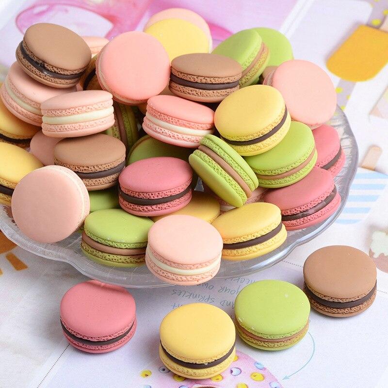 10Pcs Miniature น่ารัก Macaron จำลอง Flatback เรซิ่น Cabochon MINI Play อาหาร DIY สำหรับโทรศัพท์เครื่องประดับตกแต่งงานฝีมือ: 23*13 ...