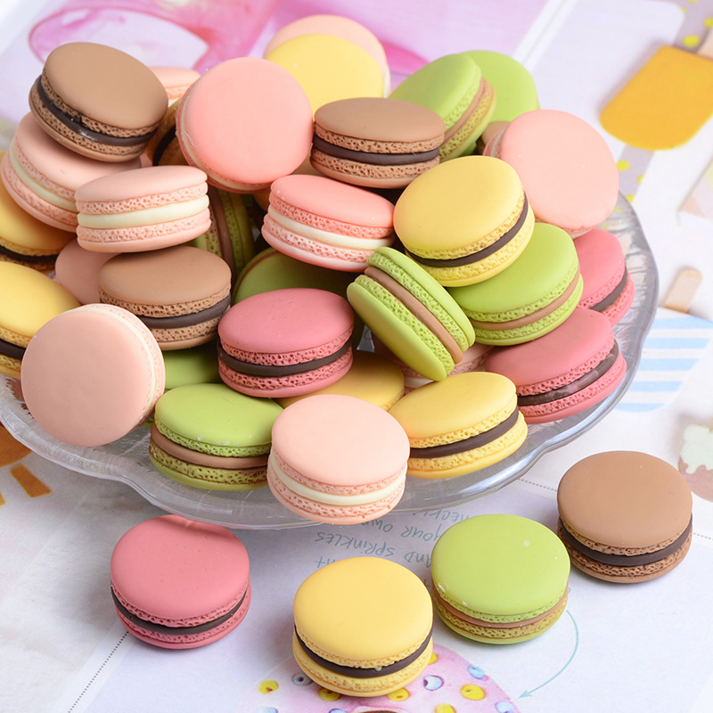 10Pcs Miniature Cute Macaron Simulation Flatback Resin Cabochon Mini Play Food DIY For Phone Jewelry Decoration Crafts: 23*13mm
