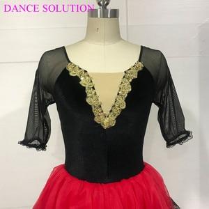 Image 5 - 3 Tiered Romantic Tutu Skirt with Lace for Girls & Women Ballerina Dance Costume Spanish Dress Mid Sleeve Long Ballet Tutu 19505