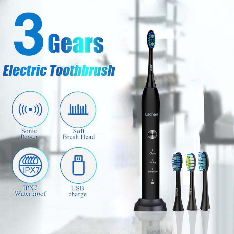 Lachen RM-T5B Electric Toothbrush Sonic Toothbrush with 4 brush heads and timer 3 modes USB charging 60 days battery life IPX7 image