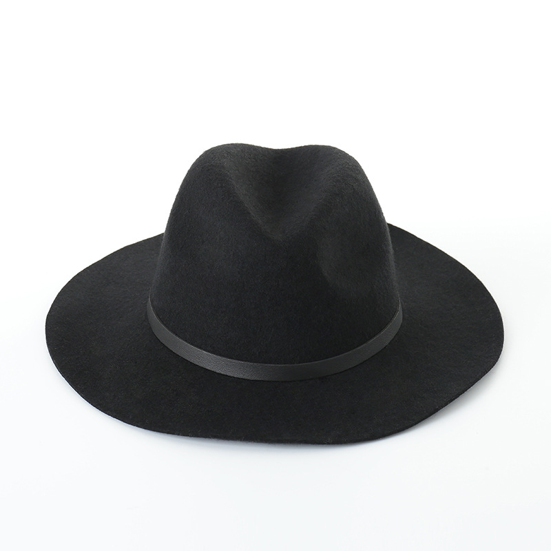 Wool Fedora Autumn Winter Hats For Women Church Hats Wide Brim Top Hat Black Classic Designer Hat Female Vintage Black New image